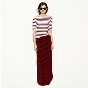 JCrew Maroon Striped Jersey Maxi Skirt